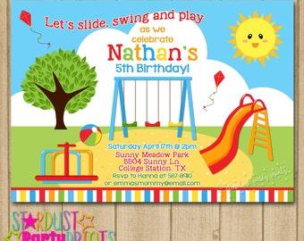 Playground Birthday Invitation, Boy Playground Invitation, Playground Birhtday, Park Birthday, Park Invitation, Printable Invitation