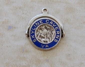 Skyline Caverns Virginia Spinner Enamel Vintage Sterling Silver Bracelet Charm