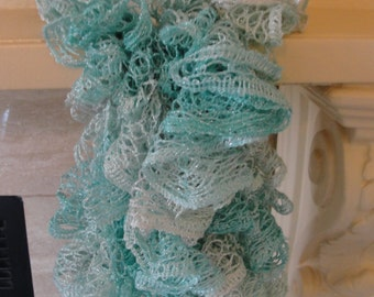 "Handmade Crochet Scarf for every occasion in mint multicolor. 92"" long."