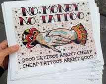 PRINT · No Money No Tattoo · Traditional Tattoo Flash