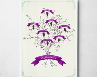 Personalised Our Grandchildren Bird Family Tree A4/A3 Print