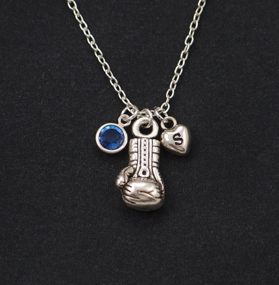 initial necklace boxing glove necklace birthstone necklace