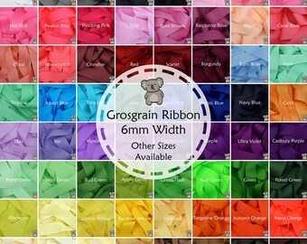 """Grosgrain Ribbon 3 5 or 10 Metre Cut of 6mm - (1/4"""") in 64 Plain Solid Colours"""