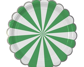 Paper Plates | Party Plates | Cake Plates | Green Stripe Plates | Green Paper Plates | Baby Shower Plates | 1st Birthday Party | 8 Per Pack