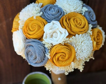 Yellow and Gray Bouquet, wedding bouquet, bridal bouquet, bridesmaid bouquet, sola bouquet, alternative bouquet, rustic wedding