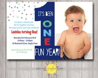 Custom Printable Boy Birthday Photo Invitation 1st Birthday Triangle Confetti One Fun Year