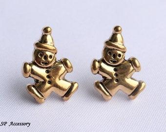 Vintage earrings, golden earrings, bozo stud