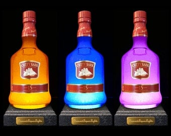 Cutty Sark Whisky Multicolour LED Bottle Lamp, Bottle Light, Gifts For Men, Whisky Gifts, Bar Lighting, LED Lighting, DiamondLiquorLights