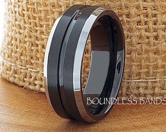 Tungsten Anniversary Ring Promise Ring 8mm Black Beveled Edges Comfort Fit Tungsten Band FREE Laser Engraving Mens Tungsten Ring His Hers