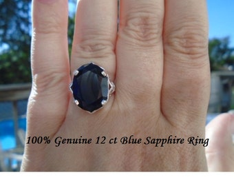 Genuine 12 ct Oval Cut Blue Sapphire Ring