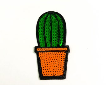 Cactus Sequin Iron on Patch(L)#T2 - Sequin Cactus,Glitter Applique Iron on Patch - Size 5.6x12.8 cm