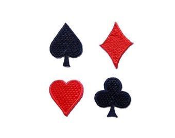 Playing Cards Set Iron on Patch  -   Spade, Diamond, Heart,Club Suits Embroidered Iron on Patch