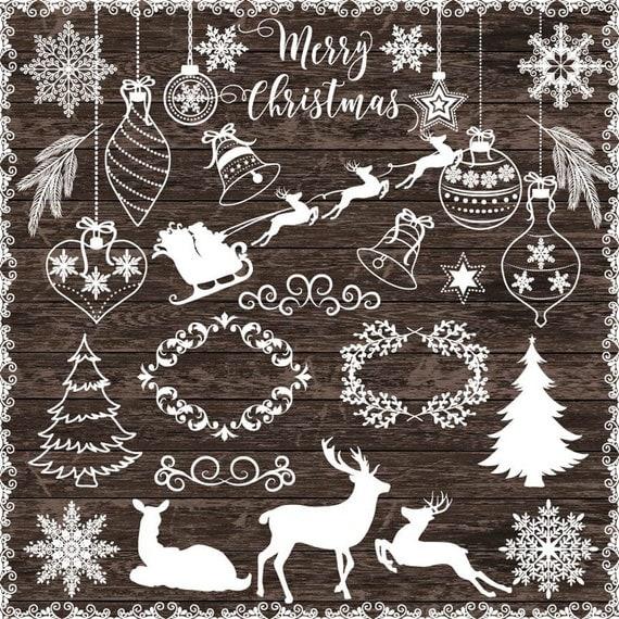 Premium VECTOR rustic christmas xmas clipart holiday deer