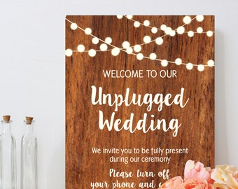 Unplugged wedding sign, rustic wood light string, country chic, DIY Printable wedding sign, INSTANT DOWNLOAD