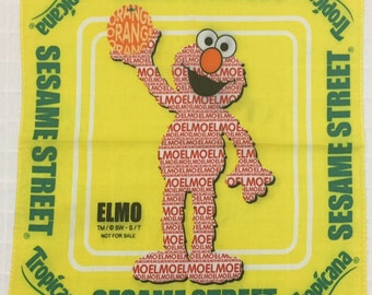 Vintage child's Handkerchief Sesame Street Cookie Monster Elmo Tropicana from Japan