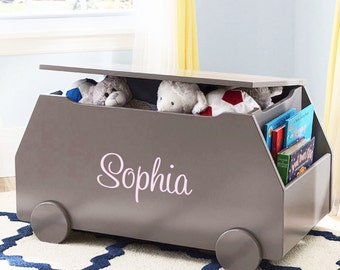Personalized Modern Essentials Toy Box with Book Storage - Classic Grey
