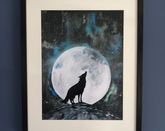Howling Wolf watercolour painting. Art Print, Signed Limited Edition.