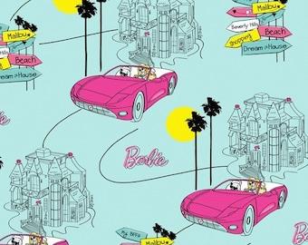 Barbie Fabric /  Barbie Car Fashion Doll Car Logo Fabric /  VIP 76899  / Fabric by the Yard / Fat Quarter / 1 Yard Cut  / 1/2 Yard Cuts