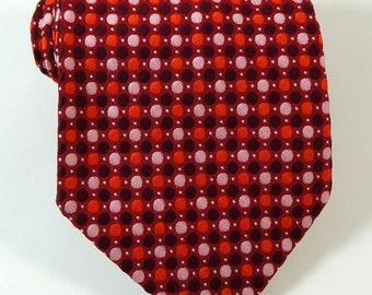 Vintage 1970s Wide Tie Oleg Cassini Red Orange Pink Polka Dot Necktie
