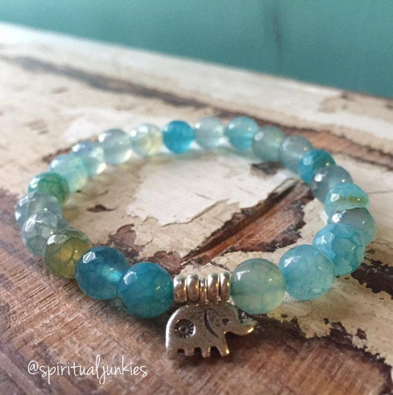 Stackable Faceted Teal Blue Cracked Agate + Hill Tribe Sterling Silver Elephant Spiritual Junkies Yoga and Meditation Bracelet
