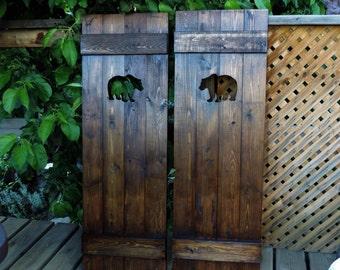 Saloon doors, cafe doors, wooden gate, western home decor, rustic doors, rustic gates, bear decor, wooden art, interior wood doors