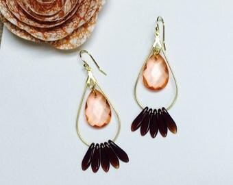Peach and Brown Spike Gold Earrings, Dangle Earrings, Teardrop Statement Earrings