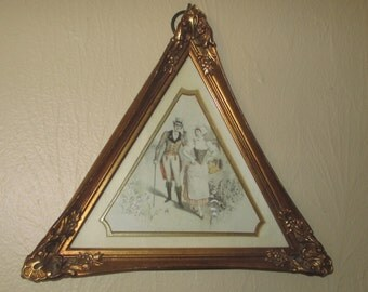 Triangle Framed Art, Sungott Art Studio NewYork, Ornate Gold Triangle Frame, Style Number 330, Gentleman and Woman, MidCentury Modern