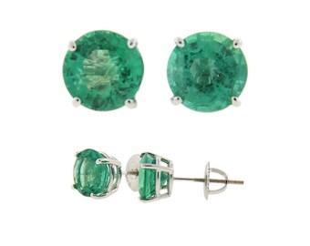 Vintage / Estate Colombian Emerald Stud Earrings 18k White Gold