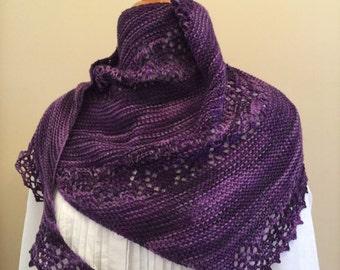 Hand knit shawl, shawlette, scarf, purple, merino wool