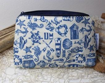 nautical symbols makeup bag, cosmetic pouch, toiletry bag, zipper pouch, makeup organize
