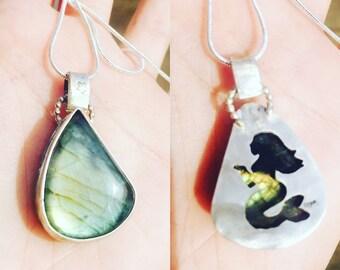 Reversable seahorse or mermaid labradorite pendant