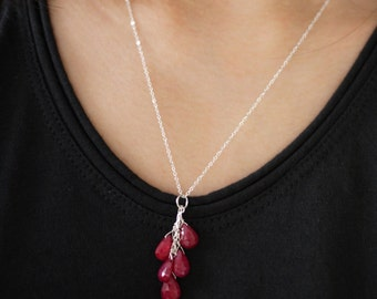 Ruby cluster pendant and sterling silver necklace
