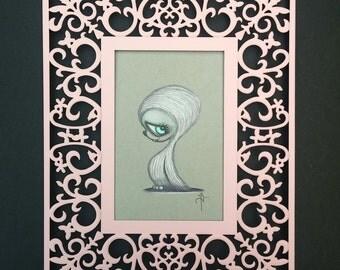 Winter creatures: Yeti Original Art framed