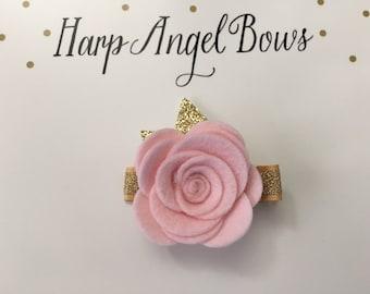 Pink 100% Wool Felt Rose Flower Hair Clip Clippie or Headband Gold Leaves Baby / Toddler / Girls