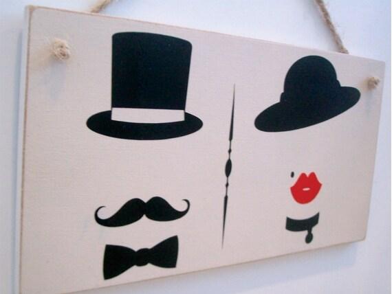 toilettentür signieren mit vintage damen und herren symbole., Hause ideen
