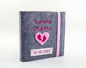 Baby Fotoalbum Mädchen Album Babybuch Babyalbum Taufe personalisiert Filz Herz Geburt Geschenk Gästebuch Geschenk zur Geburt rosa gestickt