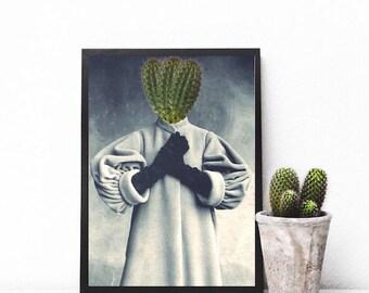 "Cactus print, surreal portrait, minimalist art, surreal art, cactus wall art, mixed media collage art, cactus poster - ""Love if you dare""."