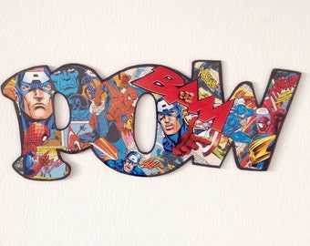 Cardboard collage letters POW, comic book letters - Spiderman & Captain America, collage wall art pop art, marvel letters, collage art comic