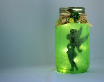 Fairy Lantern, Pixie Fairy, Green With Gold, String Of Battery Operated Lights Included, Mason Jar Gift: Ready To Ship