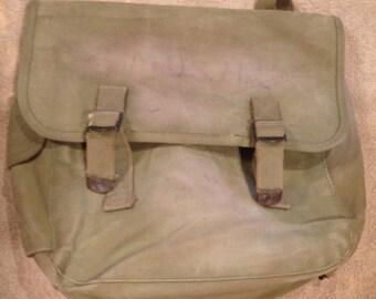 Vintage World War II Canvas Musette Bag