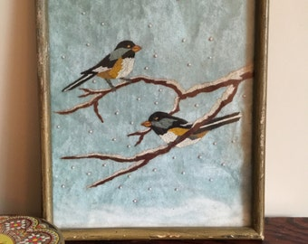 Hand painted birds on cloth