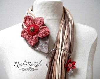 scarf scarf necklace jewel fabric flower, red, Brown, beige, off-white, liberty, bordeaux