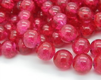 Raspberry 20 cracked glass beads 12 mm