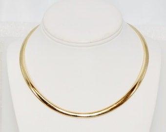 "17"" 14k Gold Vintage Italian Fashion Omega Necklace"