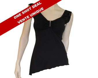 """Black """"Barbell"""" top, short sleeves camisole, asymmetrical top with lace and metal accessory."""