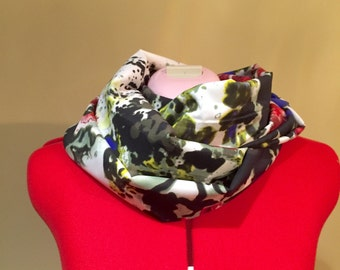 Silky Floral print infinity scarf
