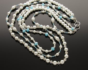 White Pearl and Light Blue glass beads Necklace with  Rhinestone Spacers, Layered Necklaces,