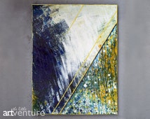Original abstract blue and yellow painting - textured indigo white and yellow painting, dark blue eclectic painting modern abstract painting