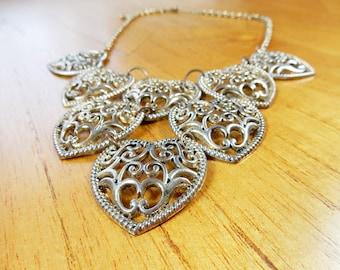 SALE, Heart Necklace, Antique Effect, Statement Jewellery, Decorative Hearts