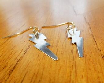 Lightning Bolt Earrings, Weather Jewellery, Thunder Storm Earrings